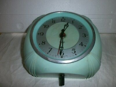 Smiths Sectric Bakelite Wall Clock - Art Deco duck egg green colour