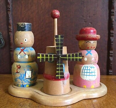 Vintage Wooden Dutch Style Figural Salt and Pepper Shakers with Windmill
