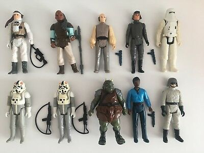 10 Original Star Wars Vintage Figuren mit original Waffen 1977-1988 Kenner Rar