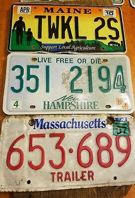 Vintage license plates lot 3 collection decor farm New England  USA☆farm barn ☆
