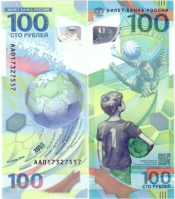 Russia 100 Rubles ! 2018 FIFA World Cup Football ! UNC series АА Polуmer!