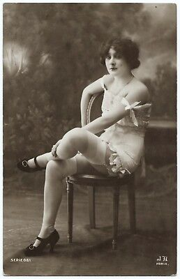 1910 Original French RPPC Nude Voluptuous Girl Lingerie Stockings Jean Agelou