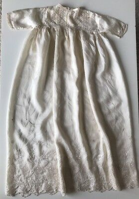 Antique Victorian Baby's Christening Gown Dress Ivory 100% Silk Hand Embroidered