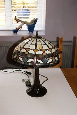 Large Art Deco Style Tiffany Glass Table Lamp Heavy Bronzed Base