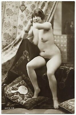 1910 Original French RPPC Nude Voluptuous Girl Lingerie Mirror Jean Agelou