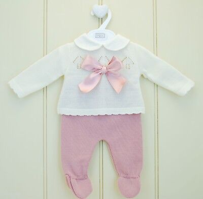 Pex Baby Girls Spanish Style Knitted Bow Jumper & Leggings Set *Small Fit*
