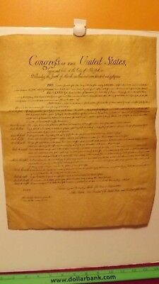 """Replica of The United States Bill of Rights on parchment paper 15"""" x 12-1/2"""""""
