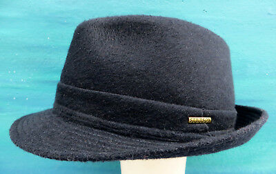 Stetson Wool Felt Pork Pie Hat Trilby In Blue Crushable Water Repellent Size 59
