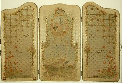 Antique French Silk Micro Needlepoint with Cupids Rococo Folding Screen Panels