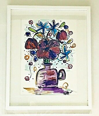 Contemporary ORIGINAL watercolour painting large FRAMED Vase of flowers 2
