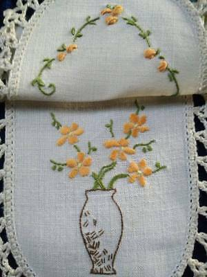 Beautiful Gold Flowers in Vase ~ Vintage Hand embroidered Sandwich Doily