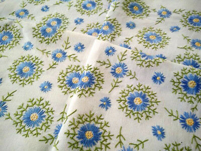 Beautiful Blue Flower Starbursts  ~Vintage Hand Embroidered Tablecloth