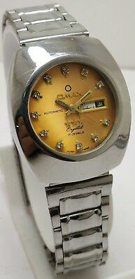 Vintage Omax Golden Dial Day&date Automatic 17J Wrist Watch Women's Swiss Made