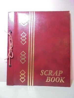 Vintage Tie Two Hole Scrap Book Red Gold Cover W 9 (18 Pages) 10 X 12