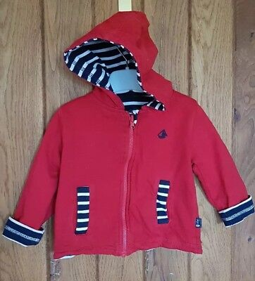 Jojo maman bebe Reversible nautical theme Hoodie blue and red 9-12months