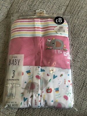 Baby Girls 3-6 Months Sleepsuit Set With Built In Scratch Mitts Bnwt