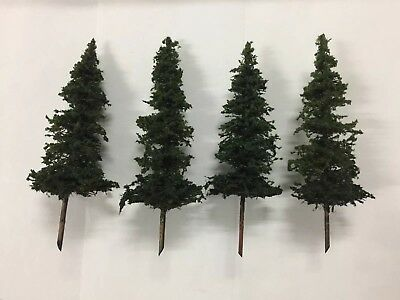 """N Scale Model Pine Trees X 4 - 100mm - 4"""" Hand Made"""