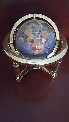"""Vintage Gemstone Globe World Brass Effect Stand And Compass 10"""" Height"""