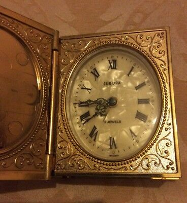 Vintage Travel Clock Europa Germany 2 Jewels Mother of Pearl Book Style Ornate