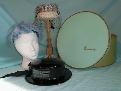 Vintage Penneys Hat Box and 3 Vintage Hats