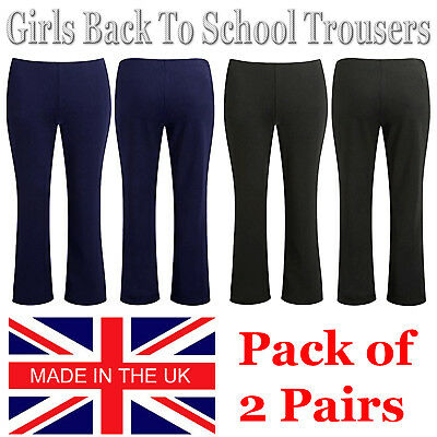 Pack Of 2 Girls School Trousers Pull On Finely Ribbed Elasticated Waist Bootleg
