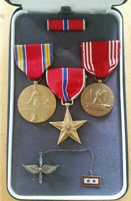 wwii victory bronze star good conduct medals and sterling army aircorp pin