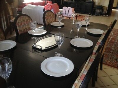 Dining Table  with Butterfly Extn Wood Black PLUS 8 chairs  ASPENDALE GDs 3195
