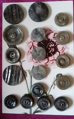Antique Vintage Buttons Collectable 17 deco lot casean grey 30's to 40's REDUCED