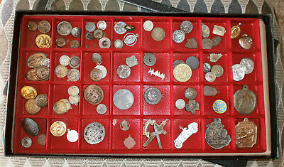 Junk Drawer Lot of Vintage Metal Buttons Trinkets Military