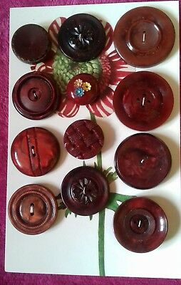 Antique Vintage Buttons Collectable 12 lot glass  plastic 1930's 1940's
