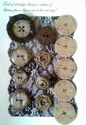 Antique Vintage Buttons Collectable 13 lot browns   plastic 1930's 1940's