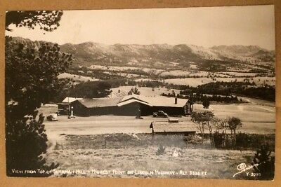View From Top Of Sherman Hill Highest Point On Lincoln Hwy WY rppc Sanborn