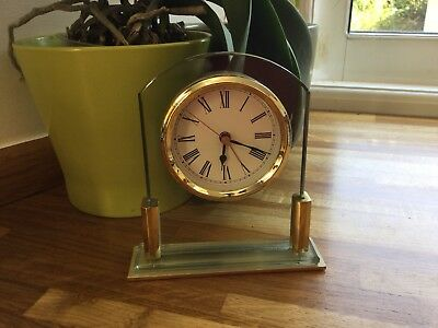 Brass And Glass Mantle Clock Made For Marks And Spencers GWO