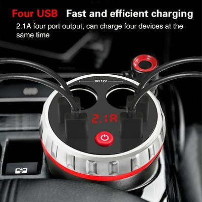 Car Cup Holder Charger Power 2 Cigarette Lighter Socket Dual 4 USB Adapter UKC8