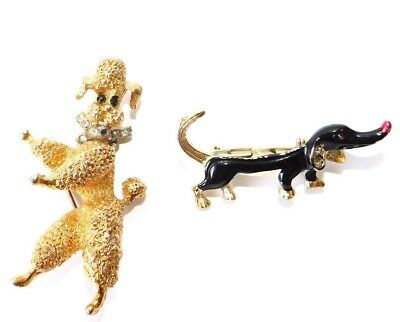 vtg 50s 60s DOG Brooch/Pin LOT~Articulated Gold POODLE & Dachshund~Rhinestone