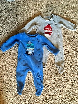 Gymboree Footed Pajama Bundle 0-3 Month Holiday Christmas Winter Snowman Penguin