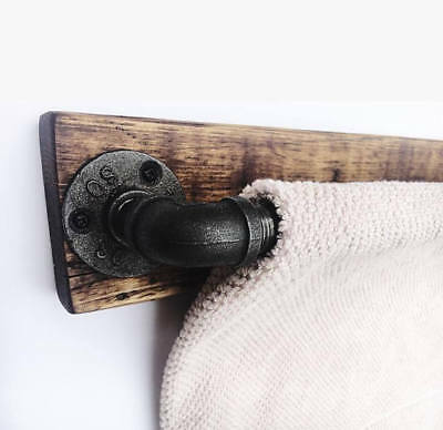Vintage Industrial Retro Style Rustic Iron Pipe Towel Rail With Wooden Base