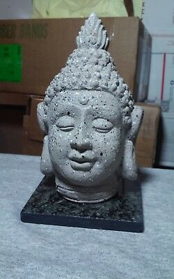 Unique cement Buddha head on marble base sculpture,Asian