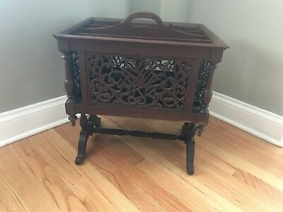 Rare Antique Wood Carved Magazine Rack