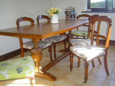 Antique refectory table and 6 chairs approx.100 years old