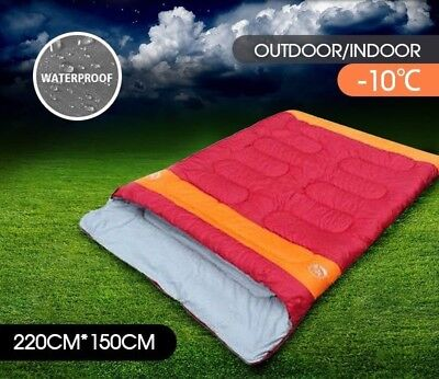 AU -10° Double Outdoor Sleeping Bag Hiking Thermal Winter Cold 220x150cm Red
