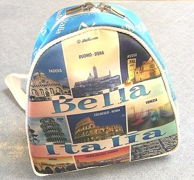 Italian Souvenir backpack-10x9 Inch.Good Quality-Made In italy.Roma-Venezia-Pisa