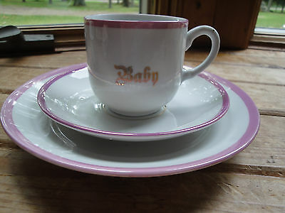 Vintage Antique China Baby Plate Cup and saucer Set Pink trim / made in Germany