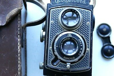 Rolleicord Art-Deco TLR camera + front cap, strap, and none rollei drop in leath