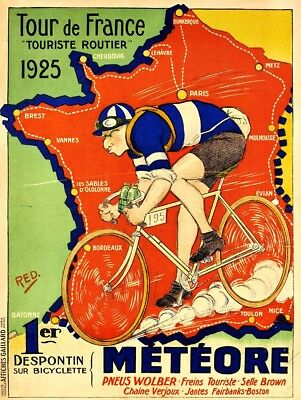 Reprint of vintage cycling poster - 1925 Tour De France promo poster. A3 size.