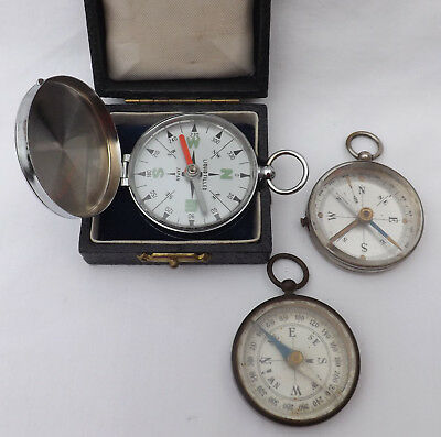 Three Vintage Antique Pocket Compass / Compasses Japan Military Ww1 Ww2 ?
