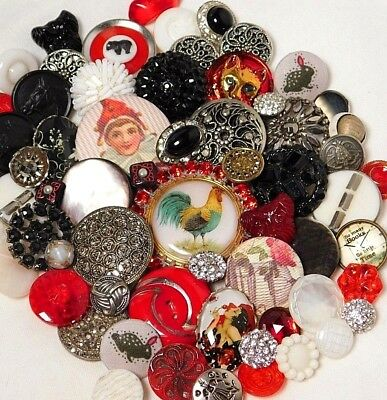 Antique VINTAGE Button LOT VICTORIAN Red GLASS PEARL CUT STEEL Animals PAIRS D