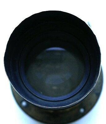 No Name British est.7 inch brass pezvel type lens with Hood, front cap, flange,