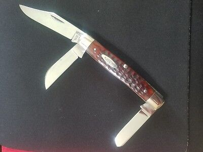 Casexx1965/69 6392 3 blade stockman,shield scarce variation,red bone,excellent!!