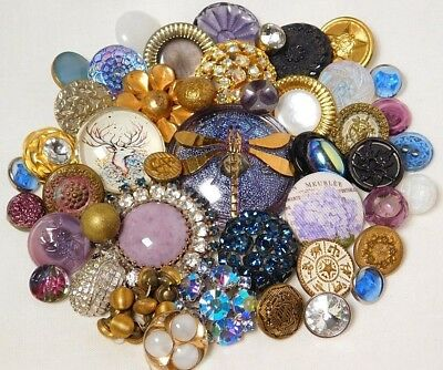 Antique VINTAGE Button LOT Purple Glass MOONGLOW Rhinestone  Victorian METAL E